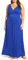 Loveappella Plus Size Women's Surplice Maxi Dress