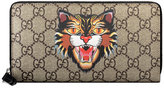 Gucci - Angry Cat print GG Supreme zip around wallet