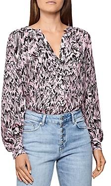 Reiss Gwen Printed Pink Blouse
