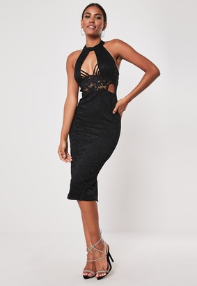 Missguided Black Lace Halter Cut Out Side Midi Dress