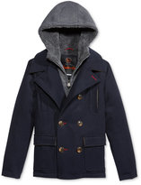 Hawke & Co Boys' Layered-Look Hooded Vestee Wool Pea Coat