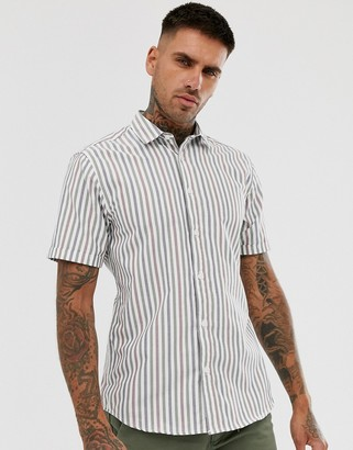 ONLY & SONS short sleeve oxford shirt in grey with stripes