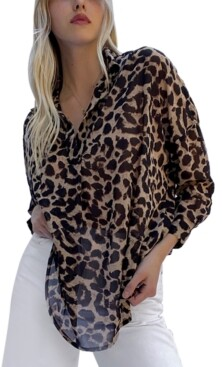 French Connection Animal-Print Georgette Top
