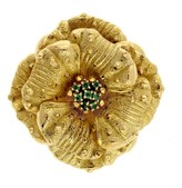 Tiffany & Co. 18K Yellow Gold Emerald Flower Pin