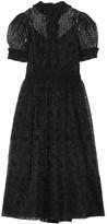 Simone Rocha Embroidered Organza Midi Dress - Black