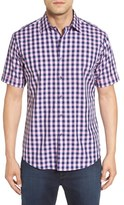 Bugatchi Men's Shaped Fit Gingham Short Sleeve Sport Shirt