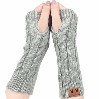 Yonhee Women Arm Gloves - Wrist Gloves Winter Women's Long Fingerless Gloves Warm Fashion Mitten Knit Crochet Gloves