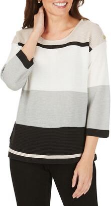 Foxcroft Linden Colorblock Cotton Blend Sweater