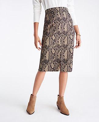 Ann Taylor Snake Print High Waist Pencil Skirt