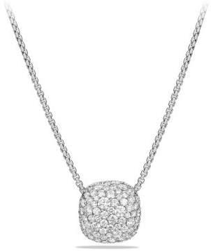 David Yurman Pave Diamond Pendant Necklace In 18K White Gold