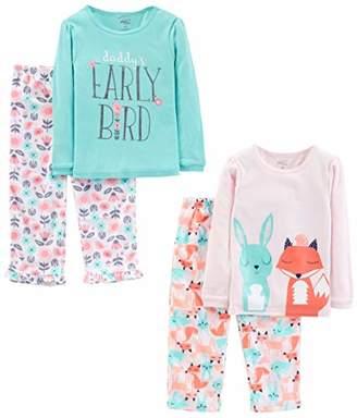 Carter's Simple Joys by Girls' Little Kid 4-Piece Pajama Set (Cotton Top & Fleece Bottom)