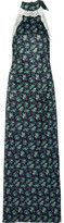House of Holland Lace-trimmed Floral-print Satin Halterneck Maxi Dress - Navy