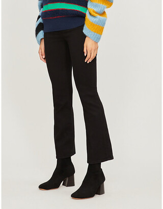 Frame Ladies Black Cotton Ripped Le Crop Flare High-Rise Flared Jeans, Size: 23
