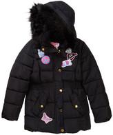 KensieGirl Hooded Bubble Jacket with Faux Fur Trim & Patches (Little Girls)