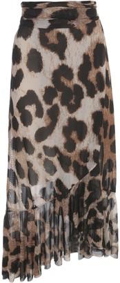 Ganni Printed Mesh Long Skirt Animalier W/belt