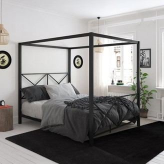 DHP Rosedale Metal Canopy Bed Frame, Multiple Sizes, Multiple Colors