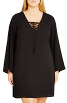 City Chic Lace-Up Bell Sleeve Tunic (Plus Size)