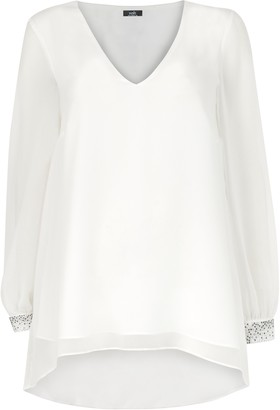 Wallis Ivory Embellished Cuff Hi-Low Blouse
