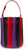 Sara Battaglia Plissé Mini Leather Bucket Bag - Red