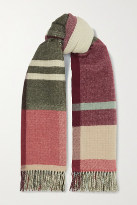 HOLZWEILER + Net Sustain Tableau Fringed Checked Wool And Cashmere-blend Scarf - Burgundy