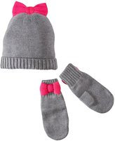 Kate Spade Bow Hat & Mittens (Baby) - Heather Grey - XX-Small