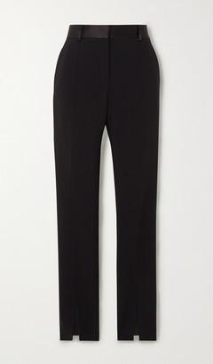 Victoria Beckham Satin-trimmed Twill Slim-fit Pants - Black