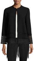 Elie Tahari Pearl Crochet-Trim Fringe-Hem Topper Coat, Black