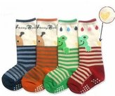 Lace Kenzola Kid's 4-pair Bee & Frogs Thick Quarter Socks ( Anti-slip 1-4 Years Old Kid Wear)