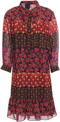 Anna Sui Ruffled Printed Georgette Shirt Dress
