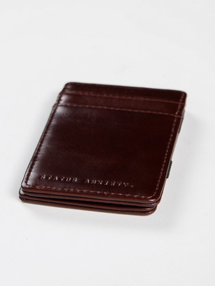 Status Anxiety Leather Flip Wallet in Chocolate Brown
