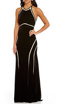 Xscape Evenings Illusion Velvet Halter Sleeveless Gown