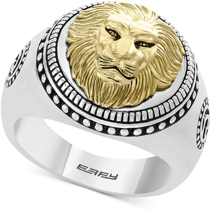 Effy Men's Lion Head Ring in Sterling Silver & 18k Gold-Plate