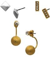 Women's Set of 3 Bar and Metal Diamond Ball Earrings - Two-Tone