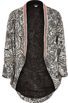 River Island Girls black mono tropical print kimono