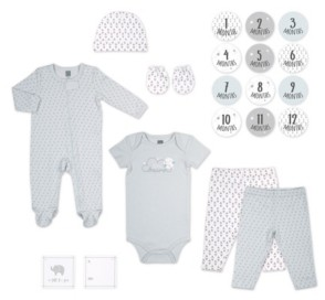 The Peanut Shell The Baby Girl and Boy 20 Piece Gray Little Dreamer Pattern Hanging Gift Set