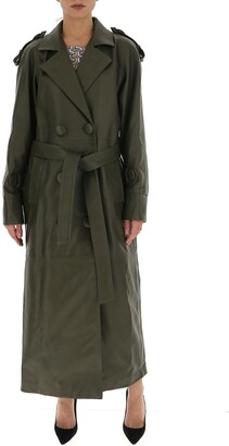 ATTICO Belted Leather Trench Coat
