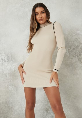Missguided Stone Long Sleeve Piped Knit Mini Dress