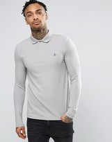 Asos Pique Muscle Long Sleeve Polo In Gray With Logo