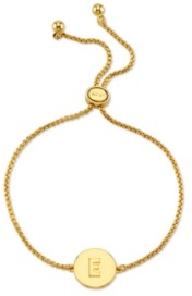 Unwritten Coin Initial Gold Tone Bolo Bracelet