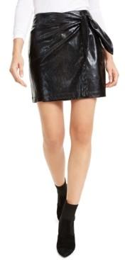 Leyden Snake-Embossed Mini Skirt