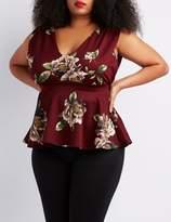 Charlotte Russe Plus Size Floral V-Neck Peplum Top