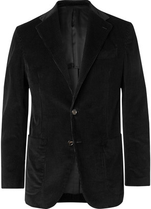 De Petrillo Black Posillipo Slim-Fit Unstructured Cotton And Cashmere-Blend Corduroy Suit Jacket