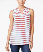 Charter Club Striped Sleeveless Top, Only at Macy's