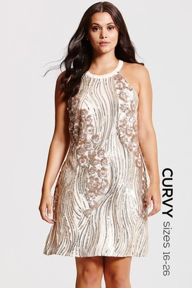 Little Mistress Curvy Gold and Cream Heavily Embellished Dress