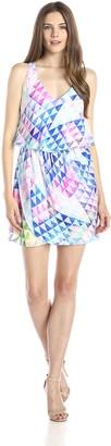 Amanda Uprichard Women's Flutter Shelf Sleeveless Crystal Geo Print Dress
