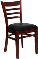 Asstd National Brand HERCULES Series Ladder Back Mahogany Wood Restaurant Chair with Vinyl Seat