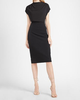 Express Draped Sleeve Mock Neck Sheath Dress