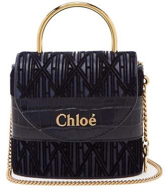 Chloé Aby Lock Small Monogram Leather Bag - Womens - Blue