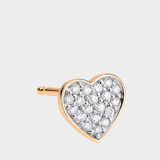 ginette_ny Single Tiny Diamond Heart Stud Earring In 18K Rose Gold And Diamonds