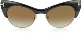 Tom Ford LOLA FT0387 01G Black Cat Eye Sunglasses